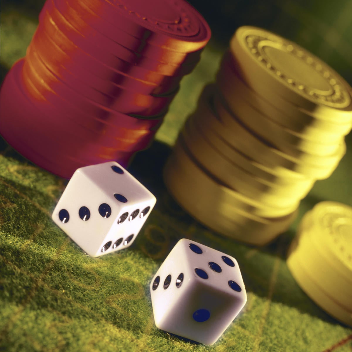 poker chips and dice 87595684
