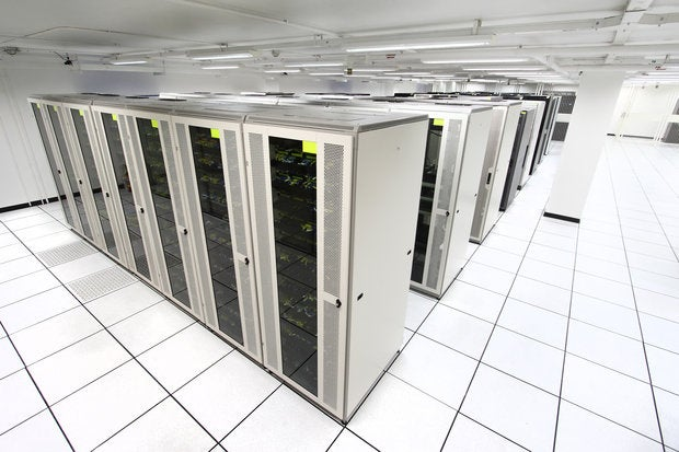 server room with white servers 147706389