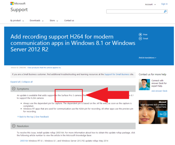 surface pro 3 support page