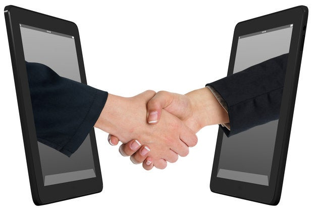 wireless internet handshake tablet computer mobile work together