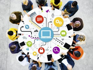 social networking enterprise group workers people table circle