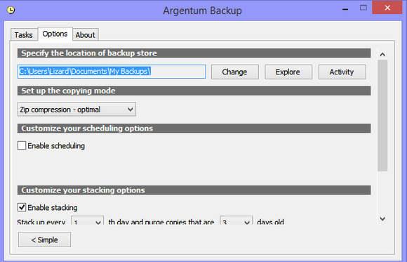 argentum backup options