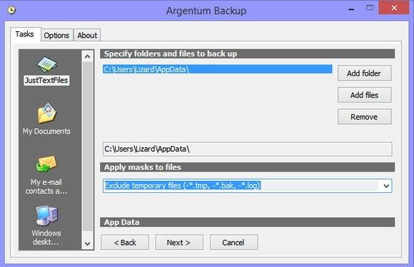 argentum backup template filtering