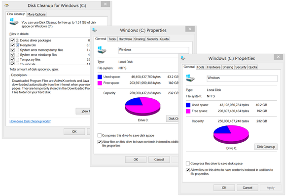 Windows 8.1 Disk Cleanup utility