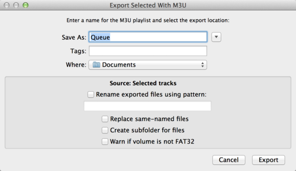 export m3u