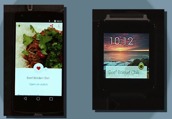 google io android wear food recipe sync phone watch
