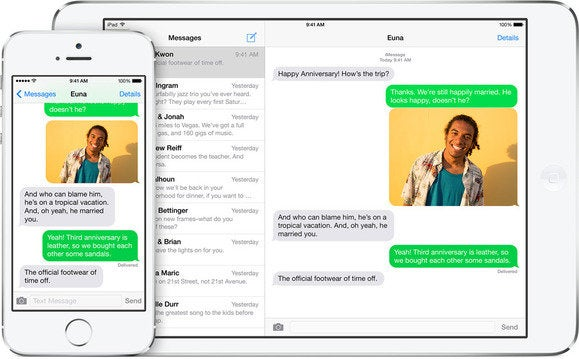 iOS 8 messages