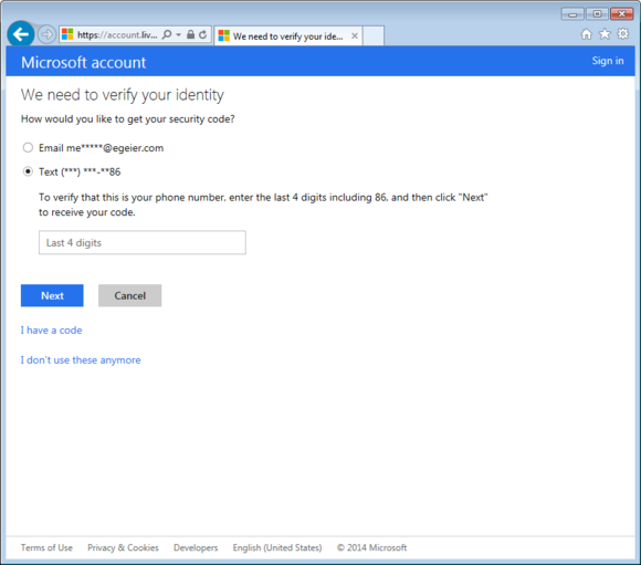 Microsoft account password recovery