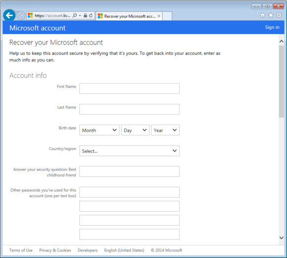 Microsoft account password recovery questionnaire