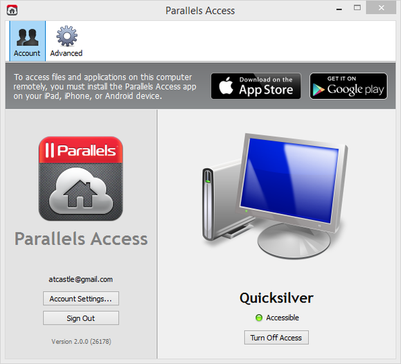 parallels account screen