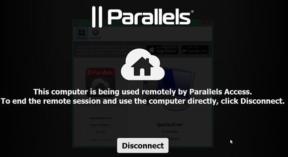 parallels lock screen