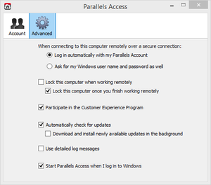 parallels options screen