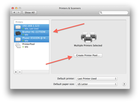 OS X printer pool