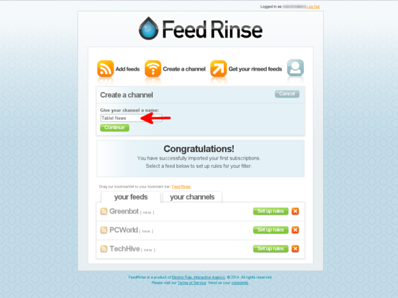 Create a Feed Rinse channel
