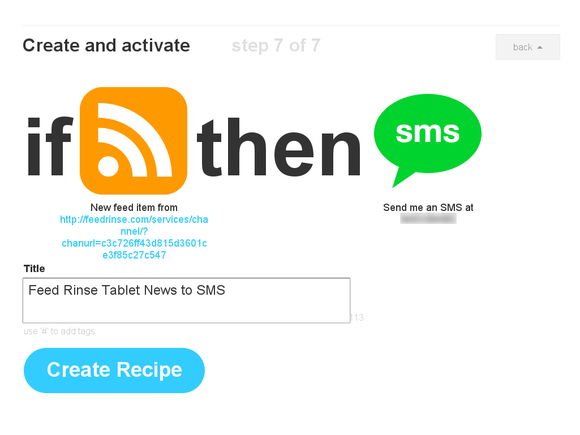 Finished IFTTT recipe