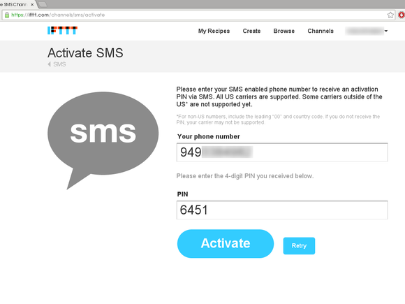 Activating IFTTT SMS channel