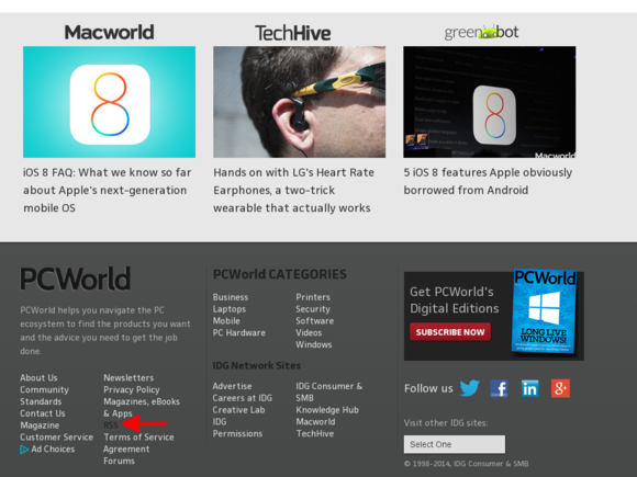 PCWorld footer RSS link