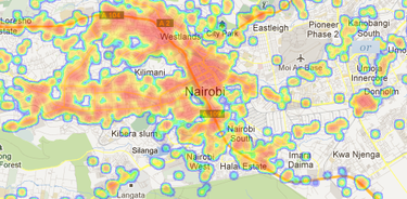 OpenSignal cell service heatmap of Nairobi