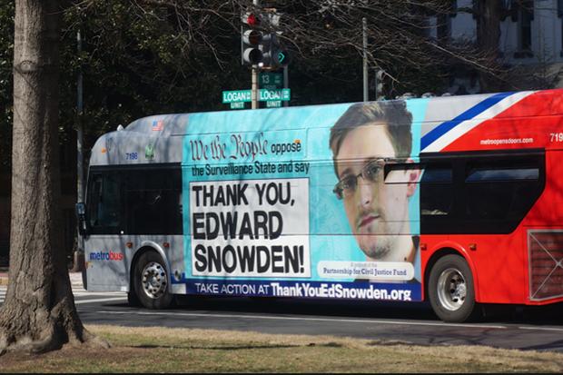 Edward Snowden bus