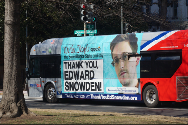 Edward Snowden bus