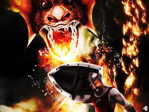 shield dragon protection fire knight soldier