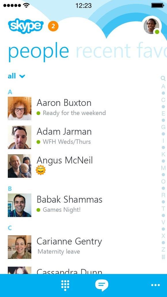 skype 5.0 iphone people