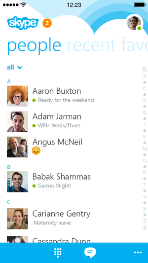 skype 5.0 iphone people