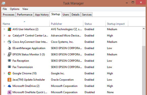 startup manager windows 8