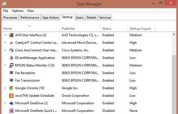 startup manager windows 8