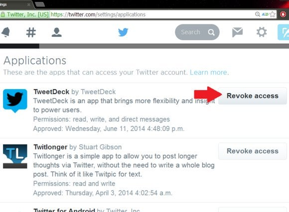 Revoke Tweet Deck access for Twitter