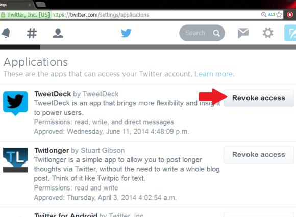Revoke Tweet Deck access for Twitter