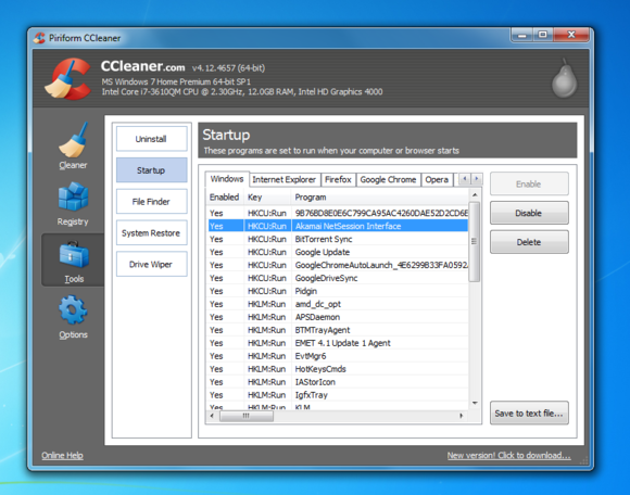 windows 7 ccleaner manage startup programs