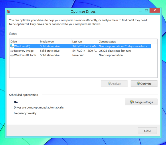 Windows 8 Optimize and defragment drives