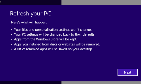 windows 8 refresh pc