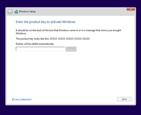 windows 8 setup product key