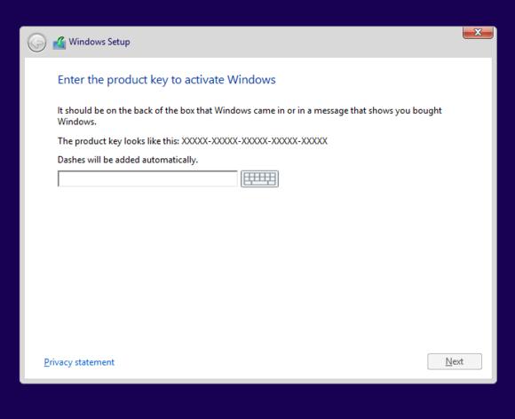windows 8 setup product key