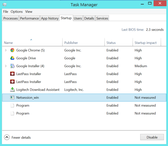 Windows 8 Task Manager manage startup programs