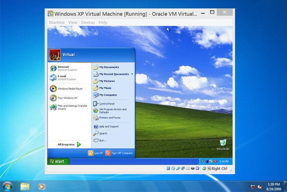 windows xp in vm