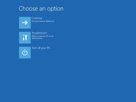 Windows 8 Advanced Startup Options (ASO) screen