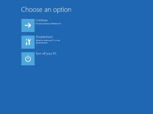 Windows 8 Advanced Startup Options (ASO) screen