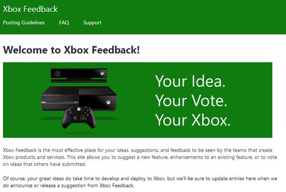 xbox feedback home