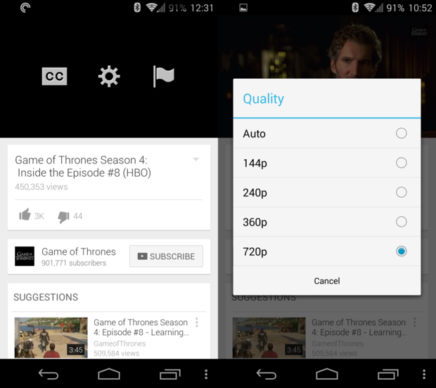 YouTube app updated with streaming quality selection | Greenbot