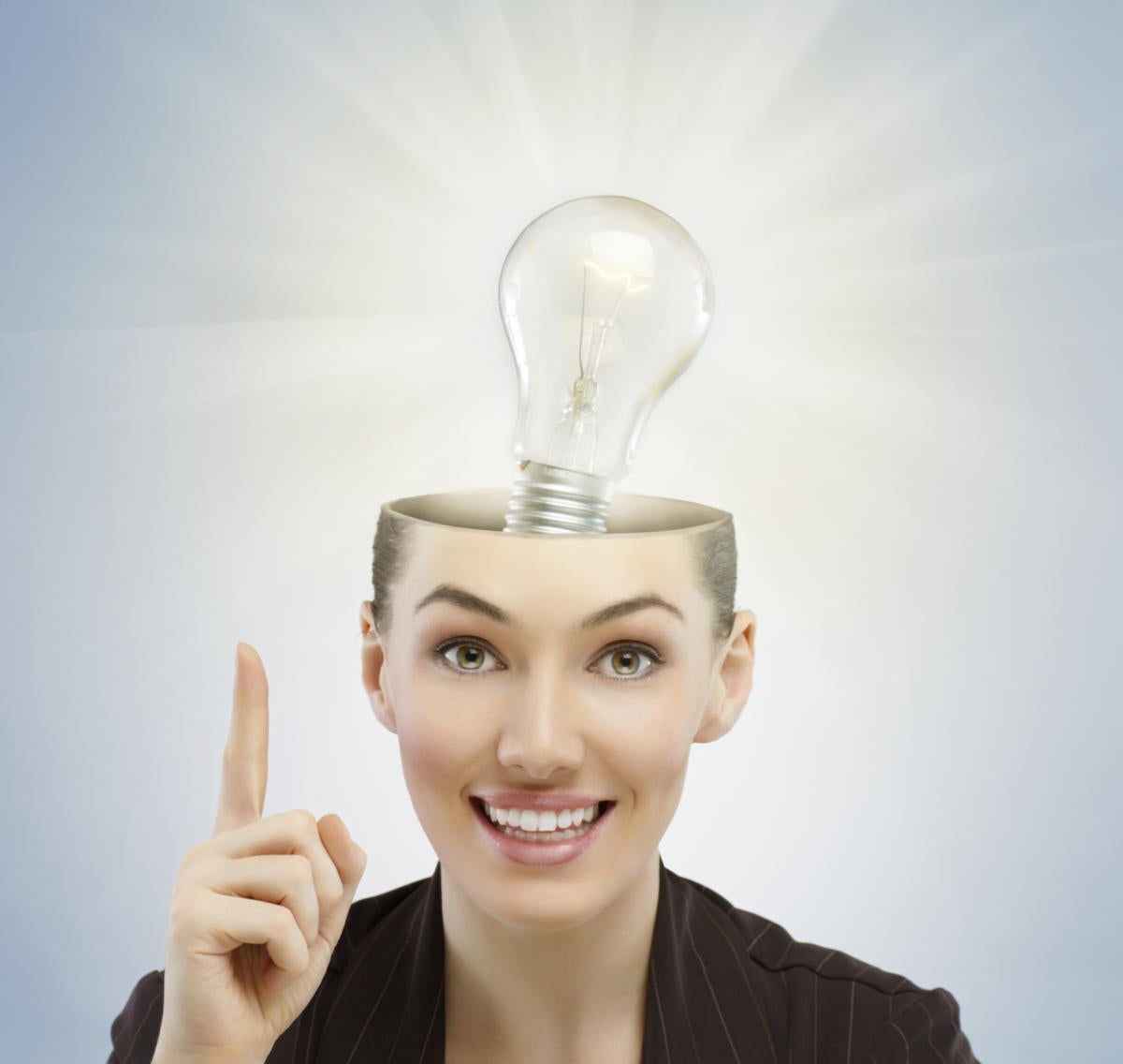 Woman with light bulb coming out of head