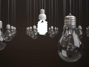 Energy saving light bulbs hanging