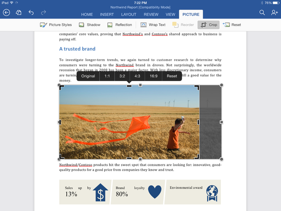 cropping a photo in word for ipad