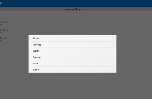 dropbox export to Android device