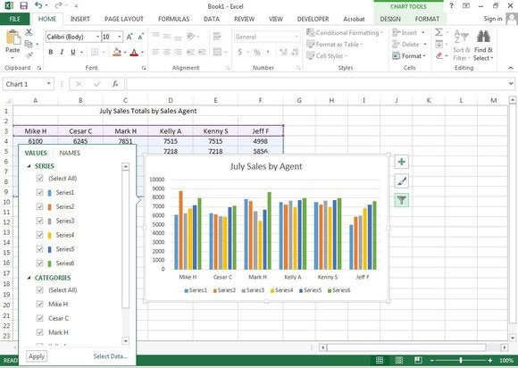 f8 modify values or names of chart