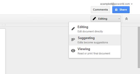 google docs modes