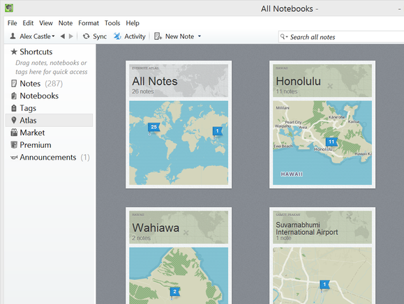 Evernote location aware notes