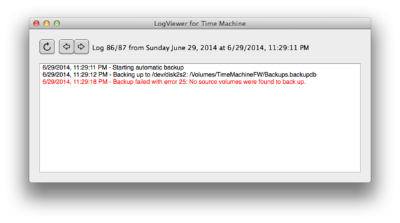 log viewer for time machine window